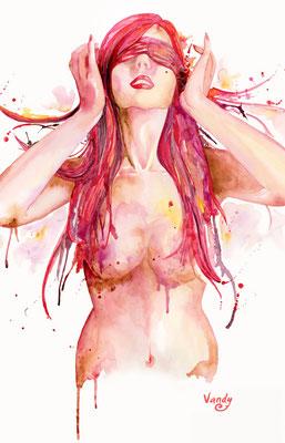 """""""Sherri"""" Aquarelle sur papier, 60 cm X 80 cm"""