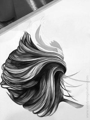 On commence avec les cheveux. Beaucoup de boucles avec un tout petit pinceau!