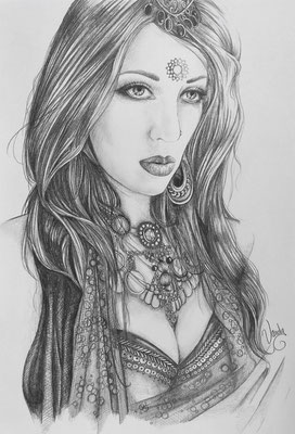"""Mysterious Aepril"" Pencils on paper, A3     Model: Aepril Schaile"