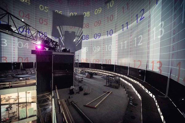 Von uns eingebaut: Mit ca. 4800m² Projektionsfläche eine der größten 360° Projektionswände in Europa, wenn nicht sogar die Größte.