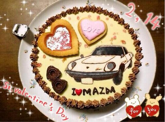 26枚目は松田礼奈様のコスモスポーツのバレンタインケーキ。ミニロータリーチョコも!