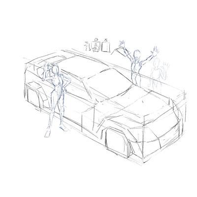 キャラクターとRX-8のアタリをとります。今回はこの時点から、車とキャラクターは個別のレイヤーに分けて描いています。