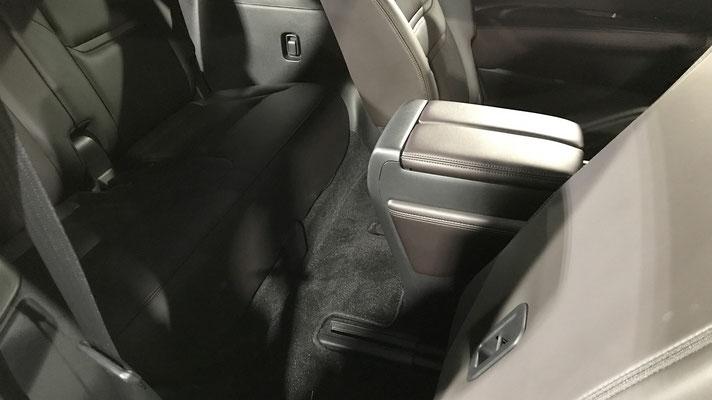 3列目シートへはラゲッジルーム側からシートバックのレバーまたはストラップを引くだけでヘッドレストが簡単に畳め、前方へ倒せます。