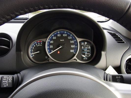 エンジンをかけると、右のメーターに「インテリジェント・ドライブ・マスター(i-DM)が点灯。燃費以外に運転の状態を表示してアドバイスしてくれます。