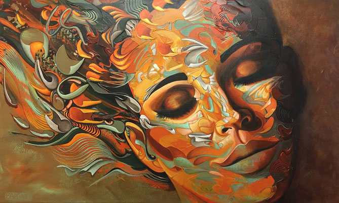 OXIDATIVE DREAMS   90x150x4cm   35x59x1,5inch   acrylics on canvas - PRICE ON REQUEST