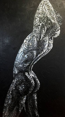 SHOWING OFF   140x80x4 cm - acrylics on canvas - PRICE ON REQUEST