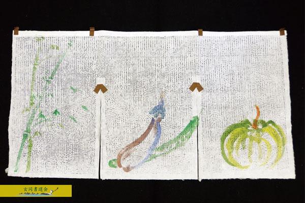 夏野菜と青竹を組み合わせた作品。色の変化が素敵です。