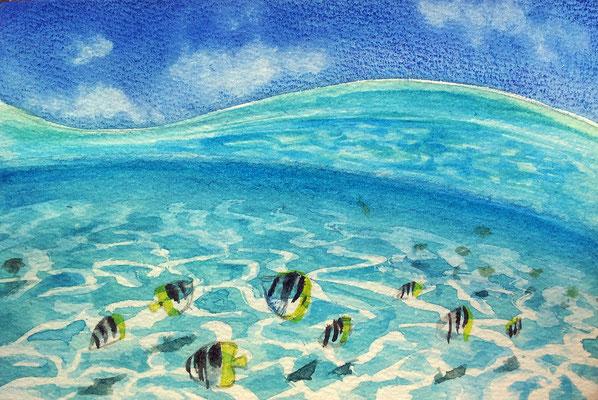 watercolor postcard size 10x15cm