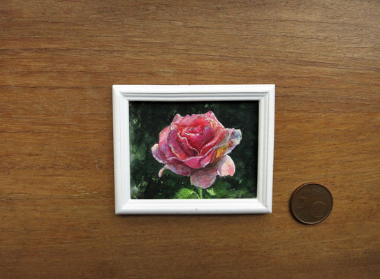 Rosa prístina, acuarela 4,8x5,8 cm