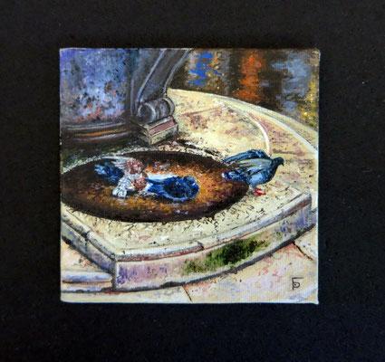 Palomas en la Plaza de San Marcos (Venecia) 7,8x7,8 cm, oil painting