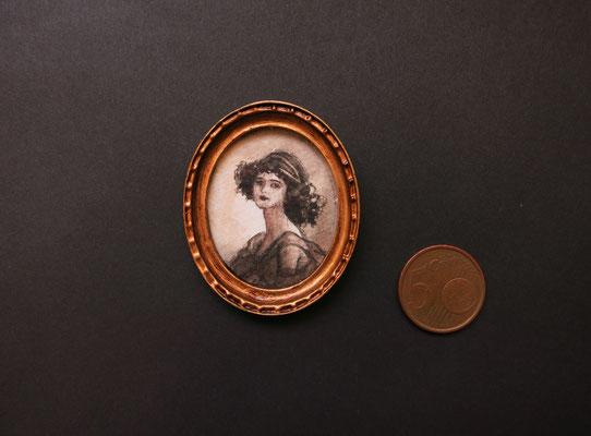 Retrato Victoriano oval, acuarela 3,7x3,1 cm