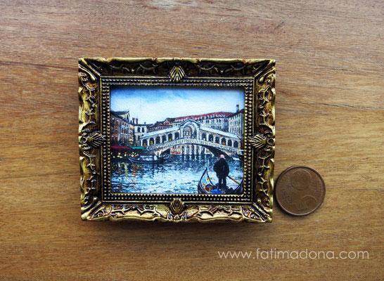 Puente de Rialto (Venecia), óleo 4,8x5,8 cm