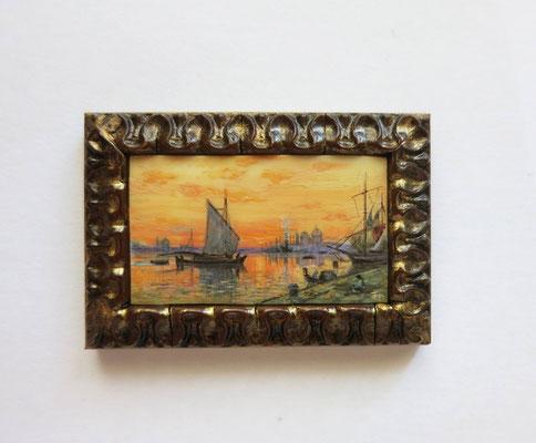 """Watercolor on synthetic ivory, after François Bocion """"Venise au soir couchant"""" 3,5 x 2,5 cm"""