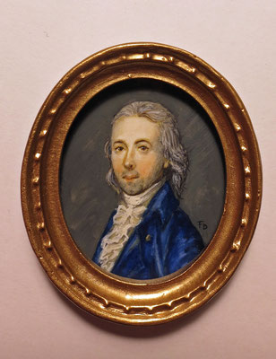 Man with a blue jacket watercolour on synthetic ivory