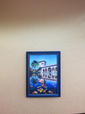 Generalife de Granada, pintura al óleo