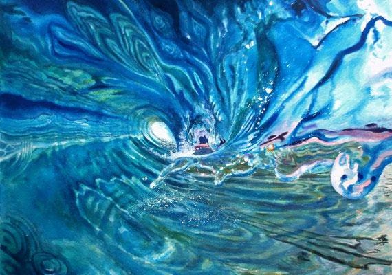 Summer wave, watercolor