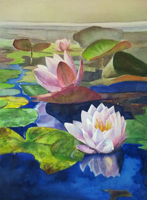 lily flowers, watercolor