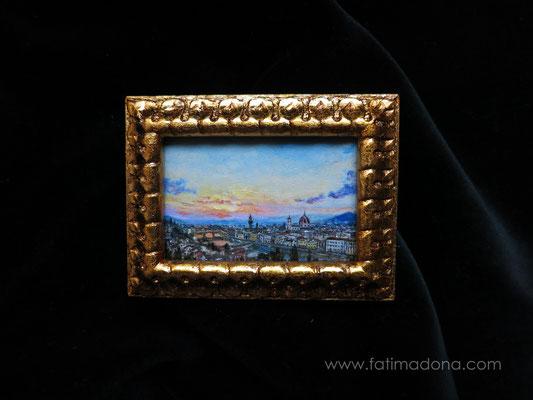 Florencia, óleo 6x4 cm, marco de madera hecho a mano dorado con pan de oro y envejecido