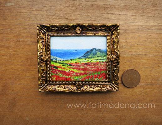Amapolas en Cabo de Gata. óleo 4,8x5,8 cm