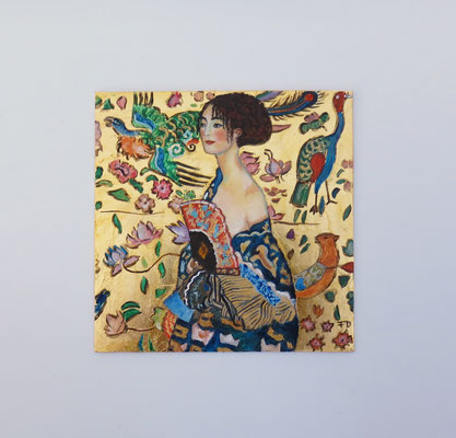 Lady with fan, after Klimt, oil and 22 carat gold leaf