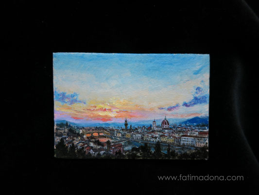 Florence, oil 6x4 cm original painting