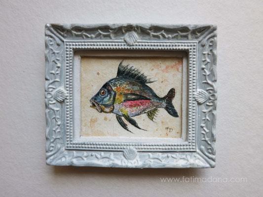 Ilustración pez inspirada en Jacopo Ligozzi (s. XVIII) acuarela 4,8x5,8 cm