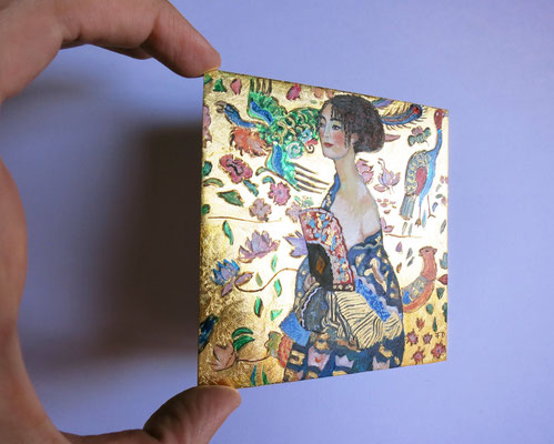 Lady with fan, after Klimt ,oil and 22 carat gold leaf