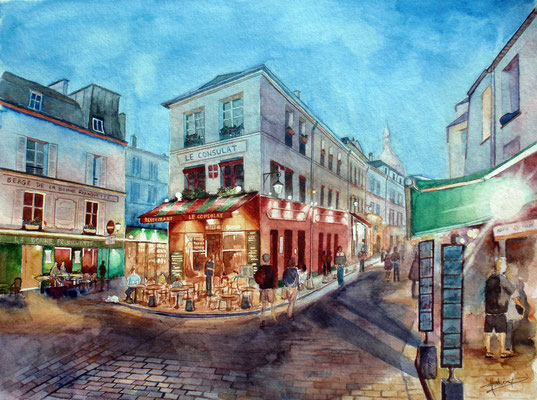 Sunset in Montmartre, watercolor 31x41 cm