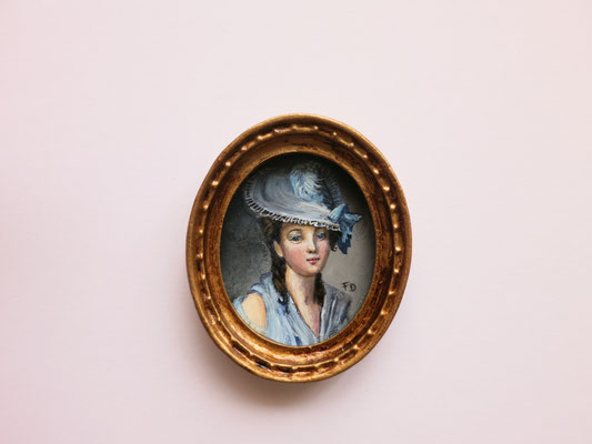 Portrait Lady with hat, oil