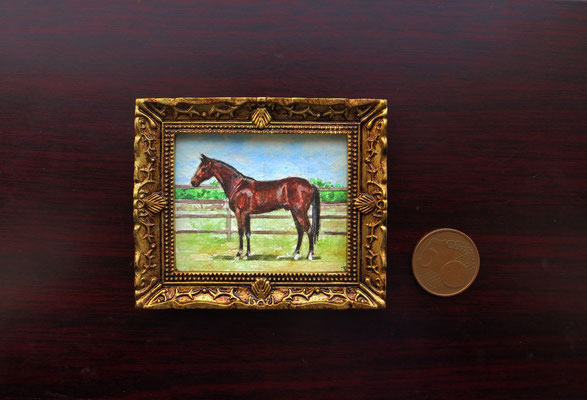 Horse, watercolour 4,8x5,8 cm original painting