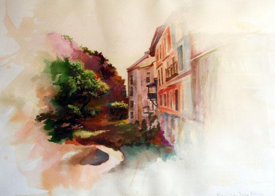 Paseo de los tristes Granada, watercolor 50x70 cm