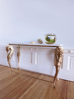 Seahorse table made with real bronze metal and white marble , 1:12 scale