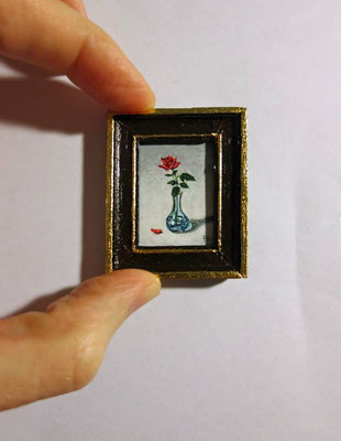 Rose in crystal vase, Oil on canvas, handmade wooden frame 3,6x4,6 cm