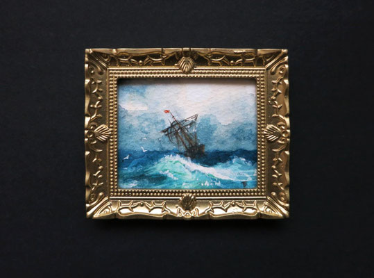 """Ship on Stormy Seas"" after Ivan-Konstantinovich-Aivazovsky. Miniature 1:12, watercolor 4,8x5,8 cm"