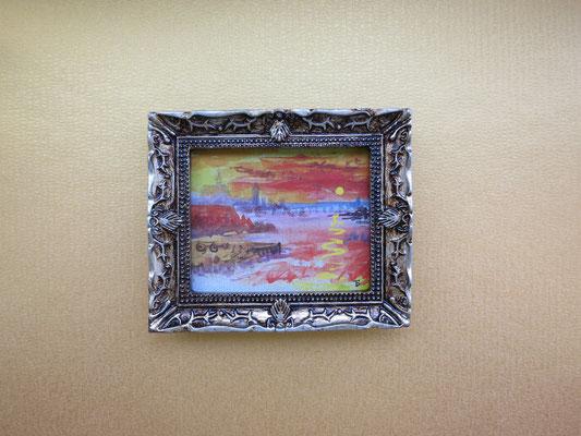 El atardecer escarlata, Turner, acuarela 4,8x5,8 cm