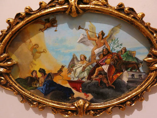 The Glorification of Barbaro Family, Venetian ceiling painted by Tiepolo, oil on ivorine