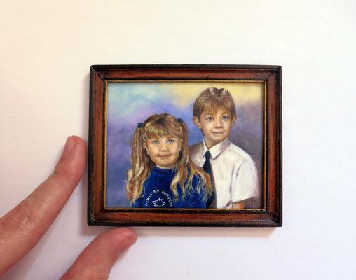 Portrait miniature oil painting 1:12 scale