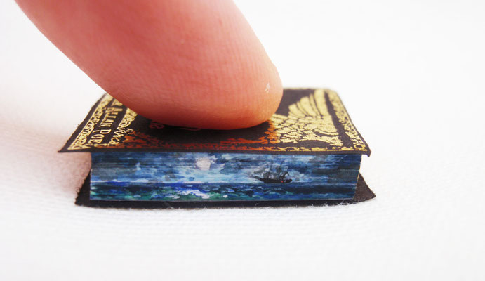 "Fore edge painting of a phantom boat inspired by Edgar Allan Poe's tale ""Message in a bottle"""