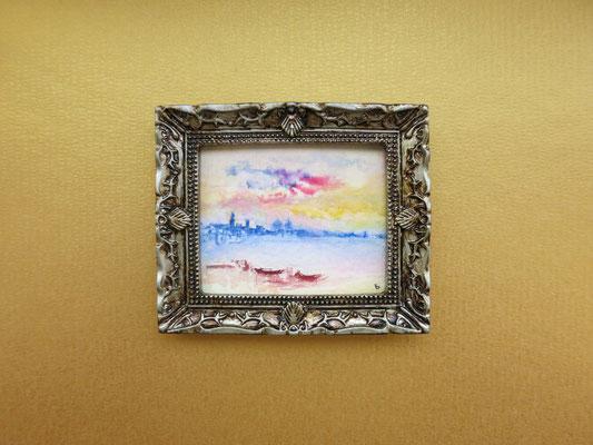 Venecia vista desde Gidecca, Turner, acuarela 4,8x5,8 cm