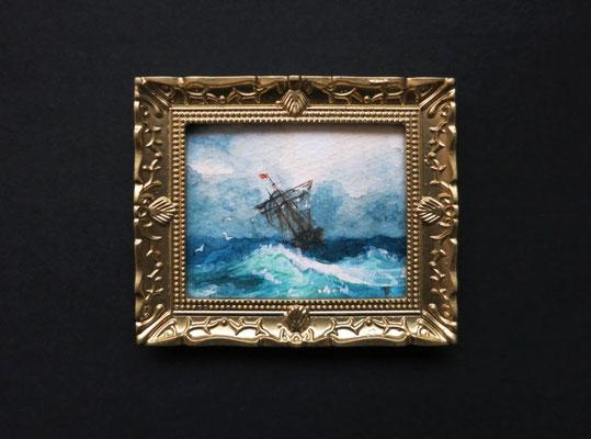 """""""Ship on Stormy Seas"""" reproducción de Ivan-Konstantinovich-Aivazovsky. Miniatura 1:12, Acuarela 4,8x5,8 cm"""