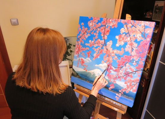 Oil painting japanese cherry tree