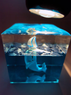 diorama Boat and whale