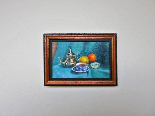 Hora del té. óleo 7,1x5 cm, marco de madera hecho a mano