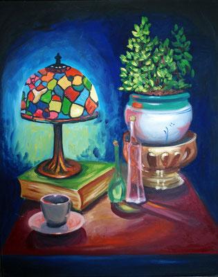 Night reading, oil on canvas 100x70 cm