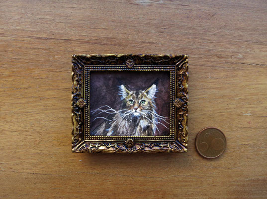 Gato montés, watercolour 4,8x5,8 cm