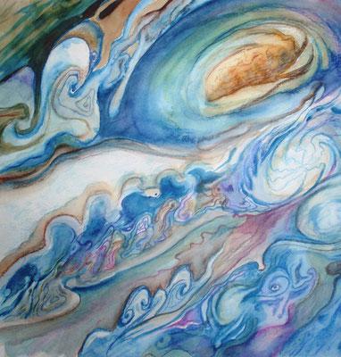 Jupiter, watercolor and pencils