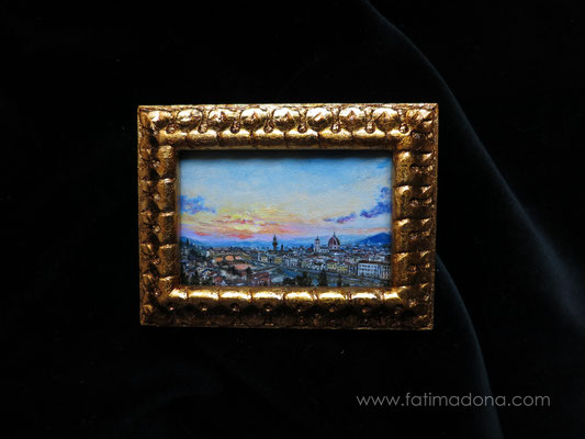 Florence, oil 6x4 cm, original painting, handmade wooden frame with gold leaf