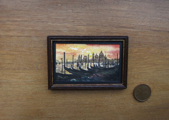 Atardecer en Venecia, acuarela 7,9x5 cm, marco de madera hecho a mano