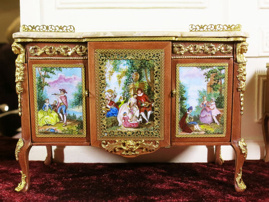 Painted panels for Madame du Barry Bureau ( Furniture made by Cristina Noriega. Painting of the panels made by me)