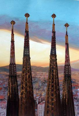 Sagrada Familia, gouache 31x41cm